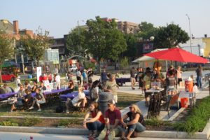 People gather in U Heights park