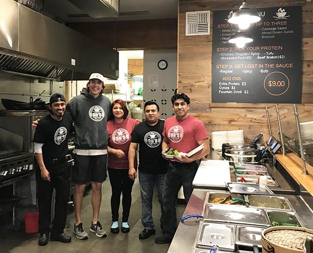 Five staff members of BB's Teriyaki Grill