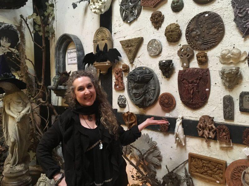 Gayle Nowicki inside Gargoyles Statuary store