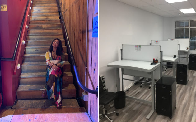 Photo of Eileen Carpenter and photo of workspaces inside Tag Spaces